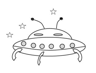 Ufo - Ufo, unbekanntes Flugobjekt, unidentified flying object, Science Fiction, Fantasie, fliegen, Zeichnung, Anlaut U, landen, Flugzeug, Luftfahrzeug