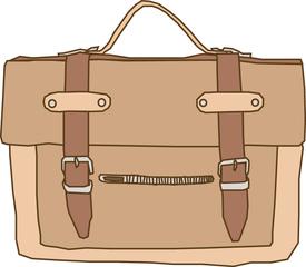 Schultasche - Tasche, Schultasche, Ranzen, braun, Schule, Arbeitsmittel, Tornister, Riemen, Schnalle, geschlossen, Clipart, Anlaut Sch, Wörter mit sch