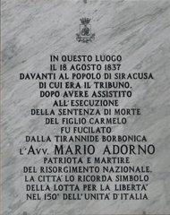 Italienische Schrifttafel - Sizilien, Syrakus, Siracusa, Italienisch