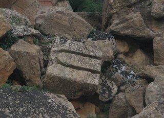 Agrigent - Tempelstein mit U-förmiger Aushöhlung - Sizilien, Agrigent, Tempel, Tempelbautechnik, Antike, griechisch