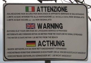 Warnschild vorm Baden - Hinweisschild, Warnschild, italienisch, französisch, deutsch, Kurioses