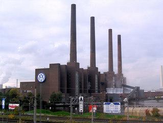 Volkswagenwerk Wolfsburg - VW, Volkswagen, Volkswagenwerk, Auto, KFZ, Heizkraftwerk, Wolfsburg, Fallersleben, Schornstein, Schornsteine, Symbol, Industrie, vier