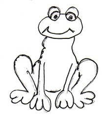 Frosch - Natur, Tier, Anlaut F, Kröte, Teich, schwimmen, Lurch, Amphibie, feucht, springen, Froschkönig, Märchen, witzig, Illustration, Wörter mit sch