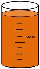 Zylinder mit Flüssigkeit #14 - Messbecher, Zylinder, Standzylinder, messen, Maß, Liter, Kubikzentimeter, abmessen, Inhalt, Volumen, Menge, Skala, Einteilung, Zahlenstrahl, Bruchteil, Bruch, Umwandlung, ablesen, Maßumwandlung, Einheit, Hohlmaß, Gefäß, Flüssigkeitsmaß