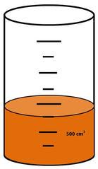 Zylinder mit Flüssigkeit #12 - Messbecher, Zylinder, Standzylinder, messen, Maß, Liter, Kubikzentimeter, abmessen, Inhalt, Volumen, Menge, Skala, Einteilung, Zahlenstrahl, Bruchteil, Bruch, Umwandlung, ablesen, Maßumwandlung, Einheit, Hohlmaß, Gefäß, Flüssigkeitsmaß