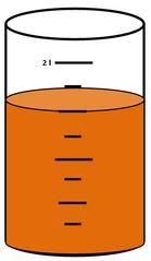 Zylinder mit Flüssigkeit #10 - Messbecher, Zylinder, Standzylinder, messen, Maß, Liter, Kubikzentimeter, abmessen, Inhalt, Volumen, Menge, Skala, Einteilung, Zahlenstrahl, Bruchteil, Bruch, Umwandlung, ablesen, Maßumwandlung, Einheit, Hohlmaß, Gefäß, Flüssigkeitsmaß