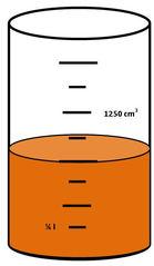 Zylinder mit Flüssigkeit #1 - Messbecher, Zylinder, Standzylinder, messen, Maß, Liter, Kubikzentimeter, abmessen, Inhalt, Volumen, Menge, Skala, Einteilung, ablesen, Zahlenstrahl, Bruchteil, Bruch, Umwandlung, Maßumwandlung, Einheit, Hohlmaß, Gefäß, Flüssigkeitsmaß
