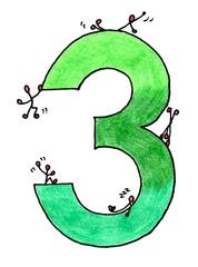 Ziffer Drei bunt - Ziffer, Drei, Strichmännchen, Hellgrün, Dunkelgrün, Grün, Illustration, Zahlenraum Zehn, Anlaut D, Wörter mit ei