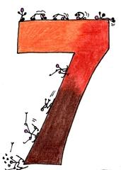Ziffer Sieben /bunt - Ziffer, Sieben, Strichmännchen, Rolle vorwärts, Purzelbaum, Schi fahren, Sturz, turnen, beweglich, Bewegung, Braun, Rotbraun, Dunkelbraun, Hellbraun, Farbübergänge, Erdtöne, Zahlenraum Zehn, Ski, Anlaut S, Illustration