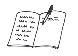 Offenes Heft - Heft, Anlaut H, Füller, Anlaut F, Füllfederhalter, schreiben, offen, öffnen, Schrift, Zeile, Zeilen, Verb, Illustration