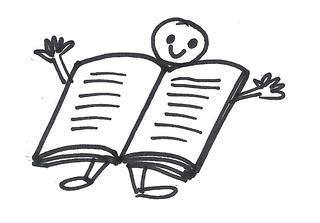 Offenes Buch - Buch, Anlaut B, Männchen, Smiley, lesen, offen, öffnen, Seiten, Symbolkarte, Lesebuch, Illustration