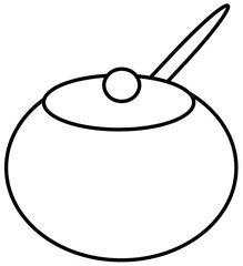 Geschirr: Zuckerdose - Zuckerdose, Zucker, Dose, Behälter, Deckel, Löffel, Kaffeegeschirr, Zeichnung, Wörter mit ck