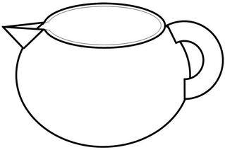 Geschirr: Milchkännchen, Sahnekännchen - Milchkännchen, Sahnekännchen, Kanne, Kaffee, Kaffeesahne, Dosenmilch, Tee, Geschirr, gießen, Behälter, Griff, handle, drink, trinken, Volumen, Zeichnung, Wörter mit Doppelkonsonanten