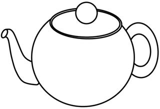 Geschirr: Teekanne - Teekanne, Kanne, Tee, Geschirr, gießen, Behälter, teapot, lid, Deckel, Griff, handle, drink, trinken, Volumen, bauchig, Zeichnung, Wörter mit ee, Wörter mit Doppelkonsonanten
