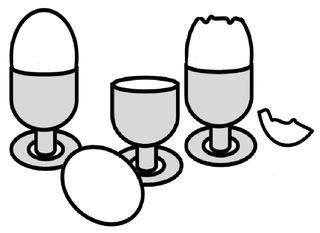 Frühstückseier im Eierbecher - Ei, Eier, Frühstück, Eierbecher, Frühstücksei, frühstücken, Schale, offen, essen, Lebensmittel, Hühnerei, drei, Zeichnung, Wörter mit ei