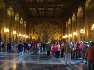 Stockholm - Stadthaus - Schweden, Stockholm, Stadthaus, Menschenmenge, viele, Beleuchtung, Saal, Zuschauer