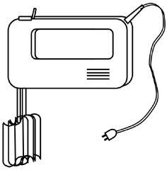 Handmixer mit Schneebesen - Handmixer, Mixer, rühren, mixen, kneten, Haushalt, kochen, backen, Küchengerät, Küchenhelfer, Küche, Zeichnung, elektrisch, Wörter mit x
