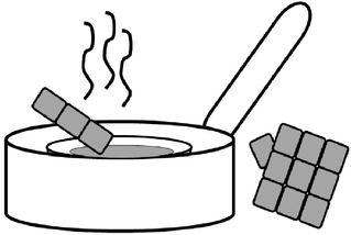 Schokolade im Wasserbad - Schokolade, Wasserbad, schmelzen, warm, erwärmen, flüssig, Wasser, erhitzen, Topf, Zeichnung, Küche, kochen, Hausarbeit, Kuvertüre, weich, Vorgangsbeschreibung