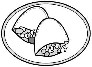 Gefüllte Teigtaschen - Teigtasche, Teigtaschen, Füllung, gefüllt, Gemüse, Fleisch, Pastete, Teig, Form, Küche, kochen, backen, Zeichnung, zwei, essen, Mahlzeit