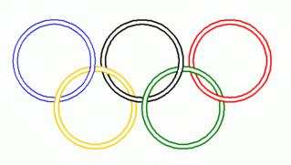 Symbol Olympische Ringe 1 - olympisch, Ringe, Olympia, Anlaut O, fünf, rot, gelb, grün, schwarz, blau, Ring
