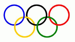 Symbol Olympische Ringe 2 - olympisch, Ringe, Olympia, Anlaut O, fünf, rot, gelb, grün, schwarz, blau, Ring