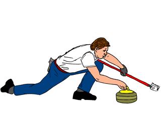 Curling farbig - Sport, Sportart, Winter, Wintersportart, Winter, Curl, Curling, Eis, olympisch, Eisstockschießen, Präzisionssportart, Eisstock, Besen, Steine, rocks
