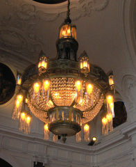 Kronleuchter - Kronleuchter, Lampe, Leuchte, Licht, Lüster, Kandelaber, Antiquität, alt, wertvoll, elektrisch