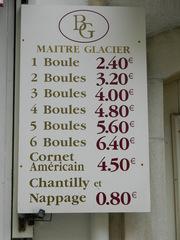 prix - boules de glace - civilisation, glace, boule, prix, panneau, glacier