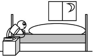 Schlafen gehen - schlafen gehen, hinlegen, Licht, löschen, müde, ausschalten, dunkel, Mond, Nacht, Abend, spät, Bett, Lampe, Nachttisch, Nachttischlampe