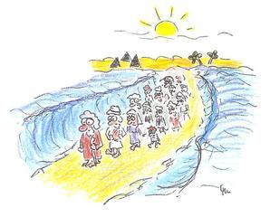 Zug durch das Schilfmeer - Moses, Aaron, Israel, Pharao, Schilfmeer, Rotes Meer, Exodus, Ägypten, Sinai, Wunder, Bibel, Religion, Weg, Geschichte, Historie, geschichtlich, Kultur