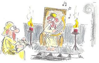 Entstehung der Psalmen - König David, David, Psalm, Psalme, Bibel, Altes Testament, singen, Gesang, Lobgesang, Religion, Kultur, geschichtlich, schreiben, Musik