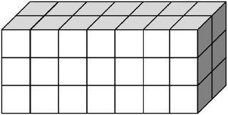 Quader aus vielen kleinen Würfeln gebildet (42) - Körper, Quader, Einheitswürfel, Geometrie, Rauminhalt, Volumen, Oberfläche, Fläche, Schrägbild, Schrägriss, Kubikzentimeter