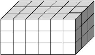 Quader aus vielen kleinen Würfeln gebildet (54) - Körper, Quader, Einheitswürfel, Geometrie, Rauminhalt, Volumen, Oberfläche, Fläche, Schrägbild, Schrägriss, Kubikzentimeter