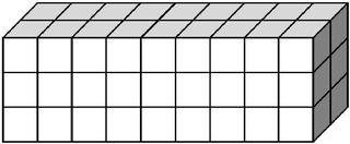Quader, aus vielen Einzelwürfeln zusammengesetzt (54) - Körper, Quader, Einheitswürfel, Geometrie, Rauminhalt, Volumen, Oberfläche, Fläche, Schrägbild, Schrägriss, Kubikzentimeter