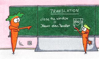 Translation-Cartoon - Cartoon, Möhrencartoon, Karottencartoon, Karotte, Möhre, Schule, Translation, Übersetzung, Übersetzungsfehler, close the window, Englisch, wörtliche Übersetzung, allzu wortliche Übersetzung, Phonetik