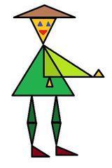 Herr Dreieck farbig - Geometrie, Dreieck, Fläche, Flächen, Form, Formen, Ebene, Dreiecke, Figur