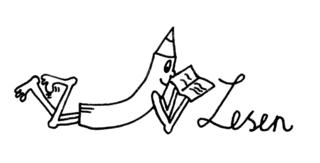 Bleistiftmännchen - Lesen - Bleistift, Bleistiftmännchen, Gesicht, Männchen, Stift, spitz, spitzen, witzig, fröhlich, lesen, halten, Gestaltung, gestalten, Symbolkarte, Illustration