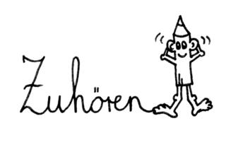 Bleistiftmännchen - Zuhören - Bleistift, Bleistiftmännchen, Gesicht, Männchen, Stift, spitz, spitzen, witzig, fröhlich, Ohren, Symbolkarte, Illustration