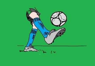 Ball auf dem Fuß - farb - Fußball, jonglieren, spielen, Spiel, Mannschaftssport, Ball, Ballspiel, Meisterschaftssport, WM, EM, Champion, schießen, Ballannahme, Sport