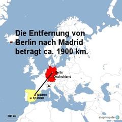 Landkarte Weg Berlin nach Madrid - Landkarte, Entfernung, Abstand, Strecke, politische Karte, Hauptstadt, Luftlinie, Berlin, Deutschland, Europa, Madrid, Spanien, 1900km, Maßstab, Mathematik