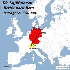 Landkarte Weg Berlin nach Bern - Landkarte, Entfernung, Abstand, Strecke, politische Karte, Hauptstadt, Luftlinie, Berlin, Deutschland, Europa, Bern, 750km, Schweiz, Maßstab, Mathematik