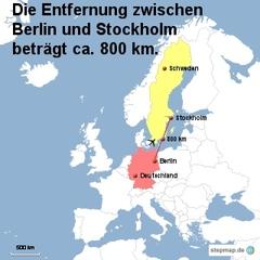 Landkarte Weg Berlin nach Stockholm - Landkarte, Entfernung, Abstand, Strecke, politische Karte, Hauptstadt, Luftlinie, Berlin, Deutschland, Europa, 800km, Stockholm, Schweden, Maßstab, Mathematik
