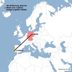 Landkarte Weg Berlin nach Lissabon - Landkarte, Entfernung, Abstand, Strecke, politische Karte, Hauptstadt, Luftlinie, Berlin, Deutschland, Europa, Lissabon, Portugal, 2800km, Maßstab, Mathematik
