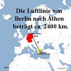 Landkarte Weg Berlin nach Athen - Landkarte, Entfernung, Abstand, Strecke, politische Karte, Hauptstadt, Luftlinie, Berlin, Deutschland, Europa, Athen, 2400km, Griechenland, Maßstab, Mathematik