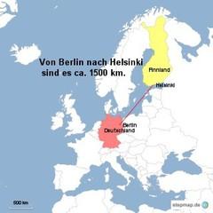 Landkarte Weg Berlin nach Helsinki - Landkarte, Entfernung, Abstand, Strecke, politische Karte, Hauptstadt, Luftlinie, Berlin, Deutschland, Europa, 1500km, Helsinki, Finnland, Maßstab, Mathematik