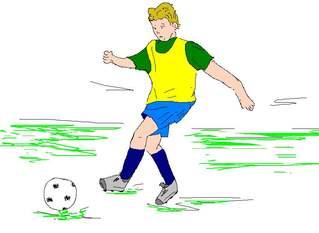 Fußballspieler farb - Fußball, spielen, Spiel, Ball, Ballsportart, WM, EM, Meisterschaft, Fuß, Kinder, Sport, laufen, schießen, Champion, Ballspiel, Fußballspieler, Spieler, Junge, Player, play, Game
