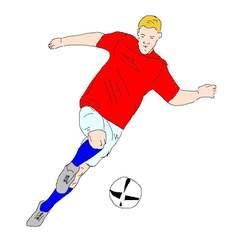 Fußballspieler farb - Fußball, spielen, Spiel, Ball, Ballsportart, WM, EM, Meisterschaft, Fuß, Kinder, Sport, laufen, schießen, Champion, Ballspiel, Fußballspieler, Spieler, Sportler, olympische Disziplin