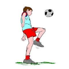 fußballspielender Junge - Fußball, spielen, Spiel, Ball, Ballsportart, WM, EM, Meisterschaft, Fuß, Kinder, Sport, laufen, schießen, Champion, Ballspiel, Fußballspieler, Spieler, Junge, Sportler, jonglieren