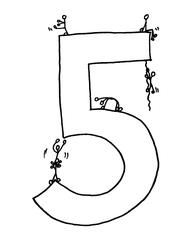 Ziffer Fünf /SW - Ziffer, Fünf, Strichmännchen, Zahlenraum Zehn, Anlaut F, Anlaut Z