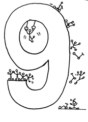 Ziffer Neun /SW - Ziffer, Neun, Strichmännchen, Zahlenraum Zehn, Anlaut N, Anlaut Z